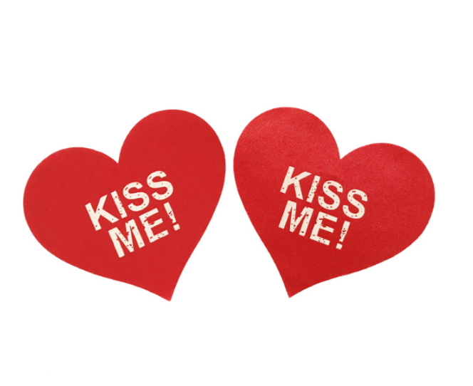 "Наклейки на грудь Пэстисы ""Kiss Me"" Красные"