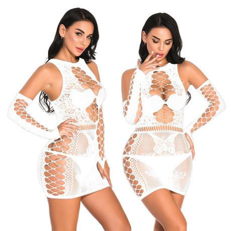 """Сексуальное платье сетка с манжетами """"My Valentine"""" Белый"""