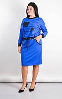 Платье женское большие размеры «Ажена» (Зеленое, синее, черное, бордовое | 50-52, 54-56, 58-60, 62-64)