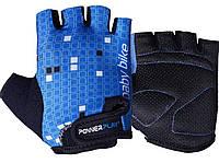 Велорукавички PowerPlay 5451 Синьо-білі XS, фото 1