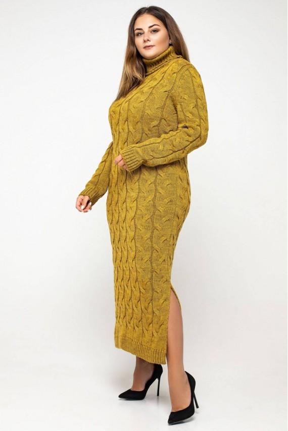 Вязаное платье с горлом макси с 42 по 56 размер