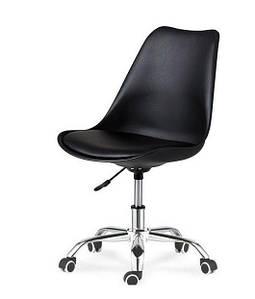 Пластикове крісло на колесах Астер SDM чорне сидіння з подушкою