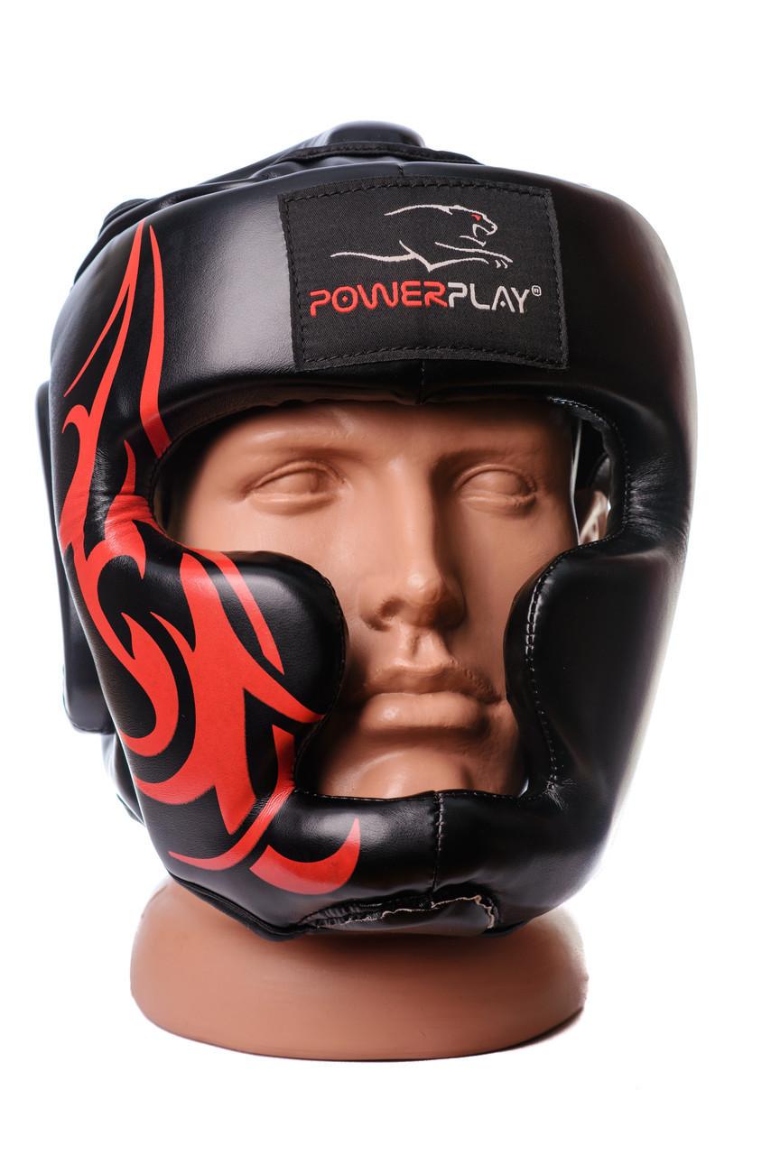 Боксерський шолом тренувальний PowerPlay 3048 Чорнo-Червоний L