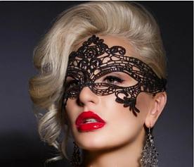 Кружевная маска на глаза, Карнавальная ажурная маска Черная