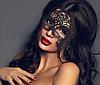 Кружевная маска на глаза, Карнавальная ажурная маска Черная, фото 4
