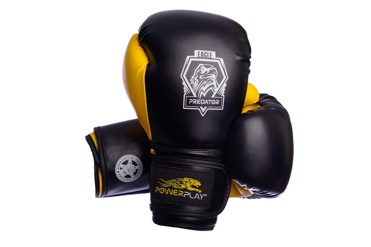 Боксерські рукавиці PowerPlay 3002 Чорно-Жовті 12 унцій