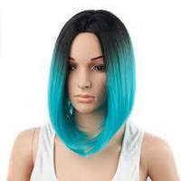 Красивый парик без челки каре омбре WS101 зеленый