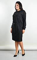 Платье женское большие размеры «Ажена» (Зеленое, синее, черное, бордовое | 50-52, 54-56, 58-60, 62-64) Черный, 58-60