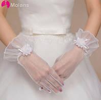 Перчатки свадебные атласные белые