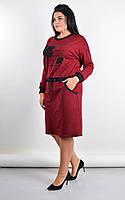 Платье женское большие размеры «Ажена» (Зеленое, синее, черное, бордовое | 50-52, 54-56, 58-60, 62-64) Бордовый, 62-64