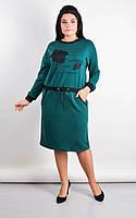 Платье женское большие размеры «Ажена» (Зеленое, синее, черное, бордовое | 50-52, 54-56, 58-60, 62-64) Зеленый, 62-64