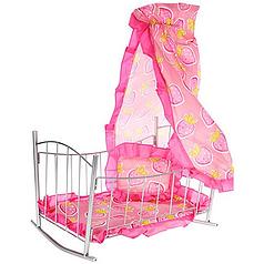 Детская игрушечная кроватка-качалка для кукол Melogo Розовый (int9349)