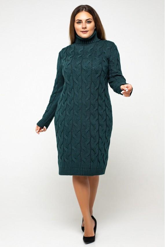 Вязаное платье с горлом миди 42-48, 50-56 размер