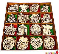 Ёлочные Игрушки из Дерева, 1 шт Деревянная Новогодняя елочная Игрушка Украшение из фанеры на елку