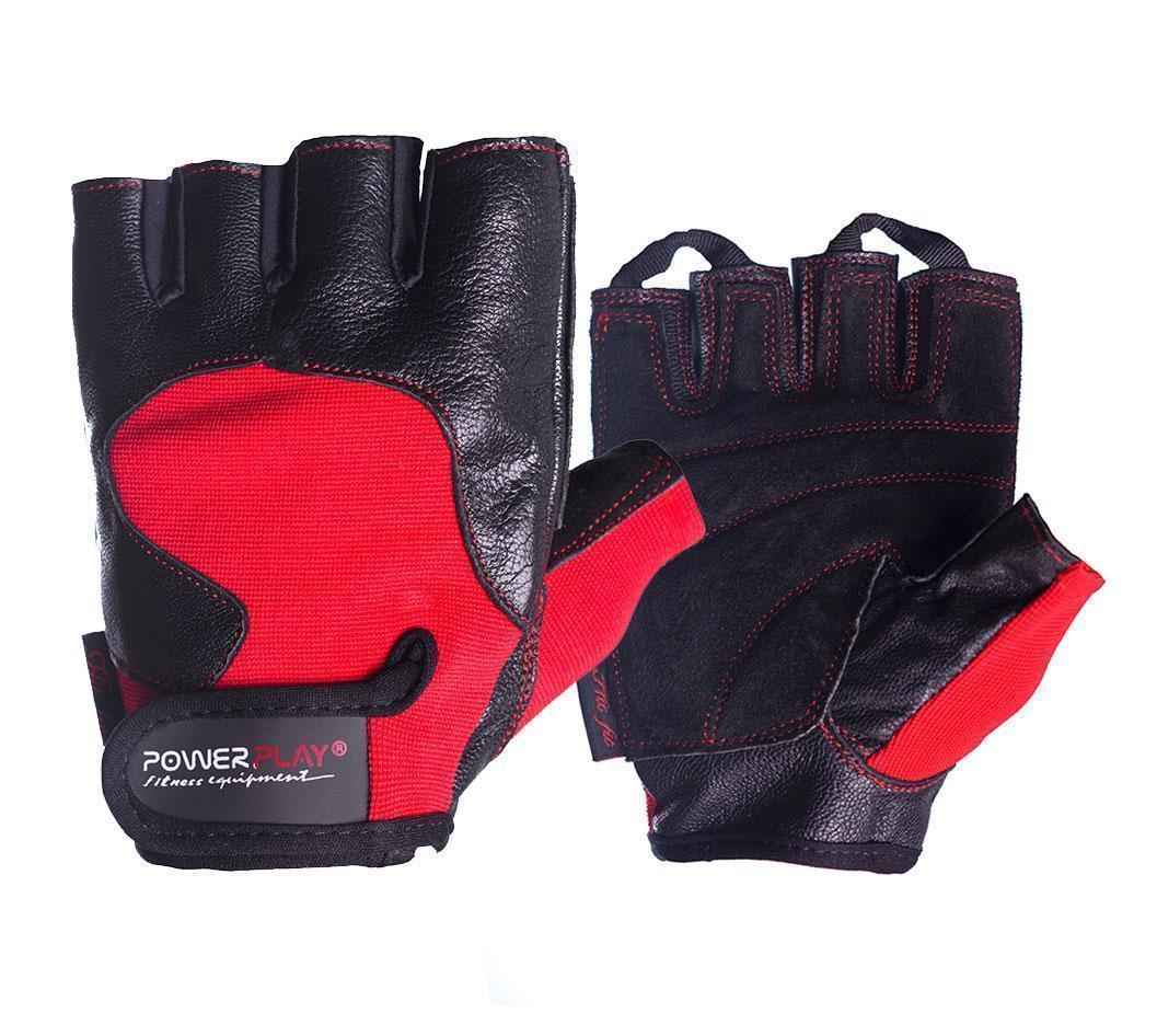Рукавички для фітнесу PowerPlay 2154 Чорно-Червоні M