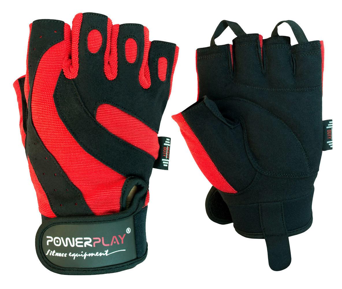 Рукавички для фітнесу PowerPlay 1598 Чорно-Червоні S