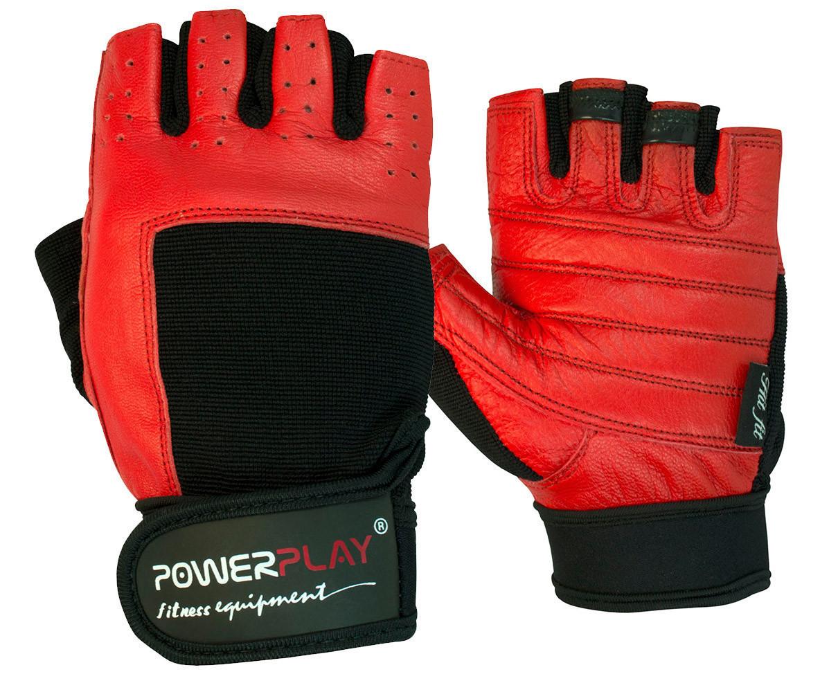 Рукавички для фітнесу PowerPlay 1588 A Чорно-Червоні L