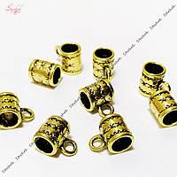 Металлические бейлы-бусины с кольцом 10х8 мм античное золото для рукоделия