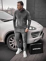 ⭐ Мужской зимний серый велюровый спортивный костюм с надписью Доберман