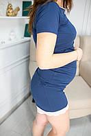602(99) Шорты для беременных для дома  с кружевом синие XL(48), фото 1