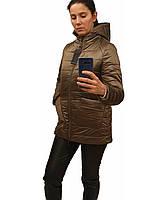 Демисезонная женская куртка с накладным карманом, модель Юлия, бронзовая, размеры 48 - 54