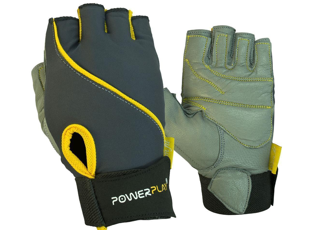 Рукавички для фітнесу PowerPlay 1725 B жіночі Сіро-Жовті S