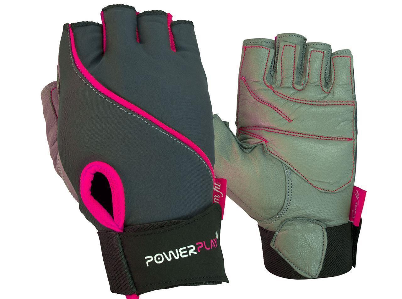 Рукавички для фітнесу PowerPlay 1725 жіночі Сіро-Розові XS