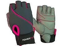 Рукавички для фітнесу PowerPlay 1725 жіночі Сіро-Розові XS, фото 1