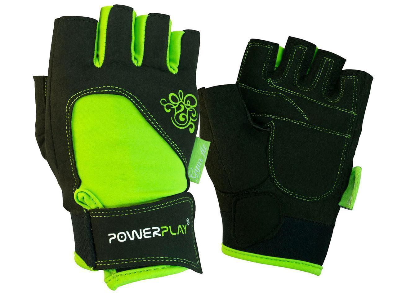 Рукавички для фітнесу PowerPlay 1728 жіночі Чорно-Зелені S