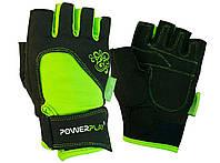 Рукавички для фітнесу PowerPlay 1728 жіночі Чорно-Зелені S, фото 1