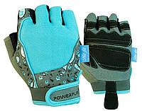 Рукавички для фітнесу PowerPlay 1735 жіночі Сіро-Блакитні XS, фото 1