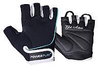 Рукавички для фітнесу PowerPlay 1750 жіночі Чорно-Блакитний S, фото 1
