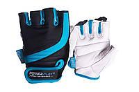 Рукавички для фітнесу PowerPlay 2311 жіночі Чорно-Блакитні M, фото 1