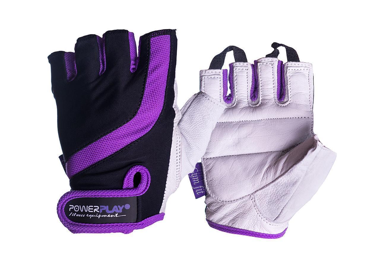 Рукавички для фітнесу PowerPlay 2311 жіночі Чорно-Фіолетові M