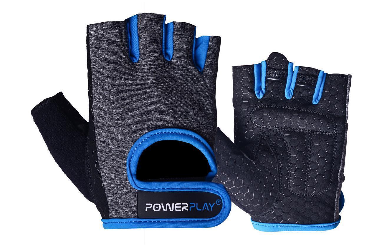 Рукавички для фітнесу PowerPlay 2935 жіночі Сіро-Сині M