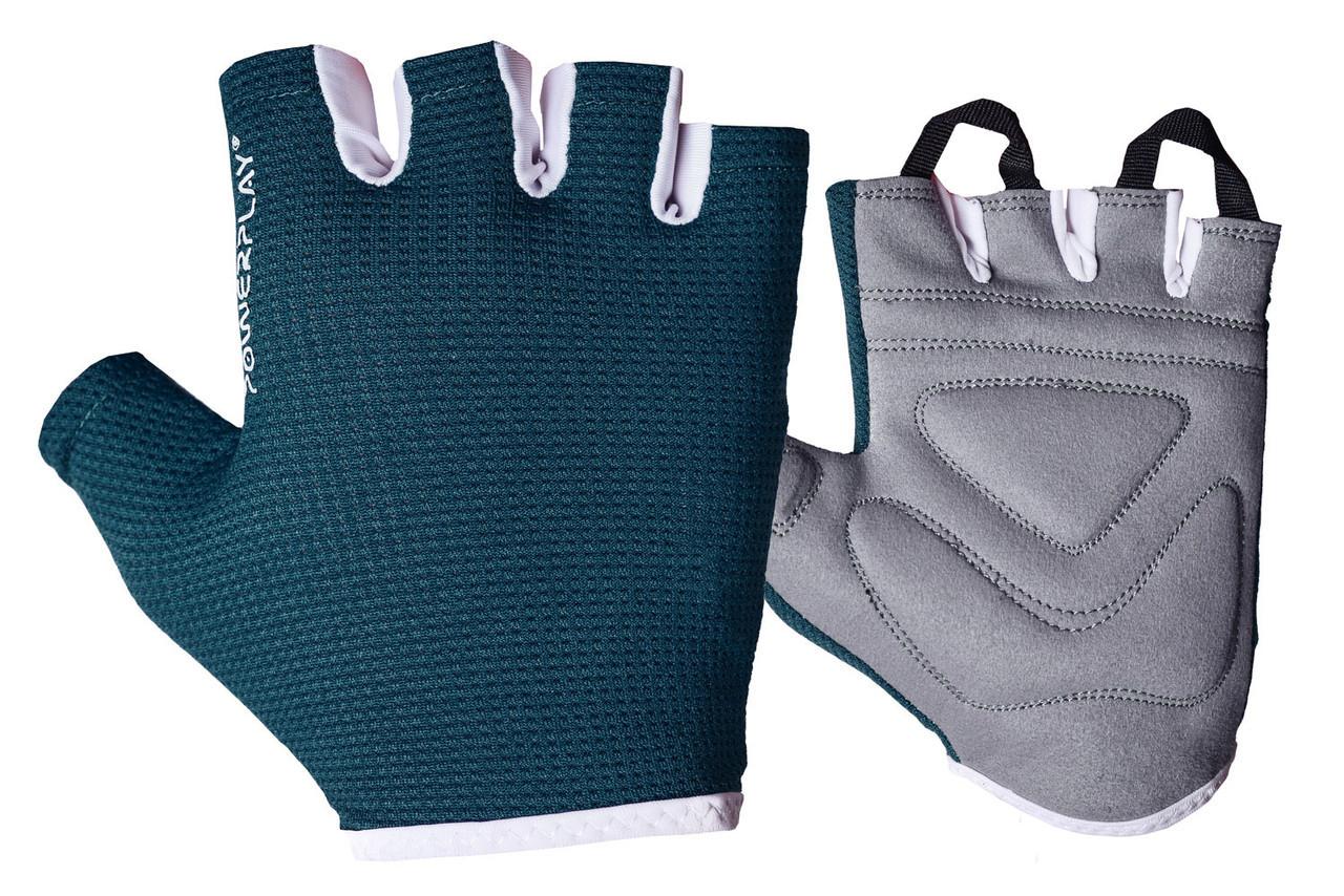 Фітнес рукавички PowerPlay 3418 жіночі Сині XS