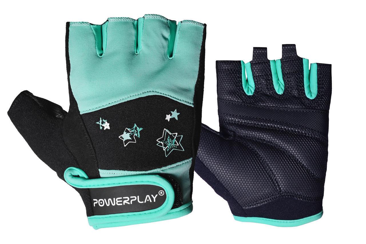 Фітнес рукавички PowerPlay 3492 жіночі Чорно-М'ятні M
