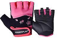 Рукавички для фітнесу PowerPlay 3492 жіночі Чорно-Розові S, фото 1