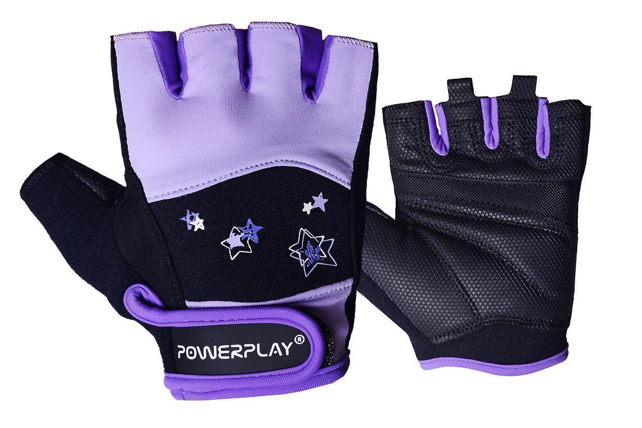 Рукавички для фітнесу PowerPlay 3492 жіночі Чорно-Фіолетові S