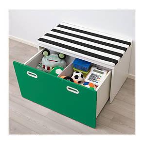 Скамья-комод IKEA STUVA / FRITIDS с местом для хранения игрушек 90 x 50 x 50 см Зеленая (792.622.06), фото 2