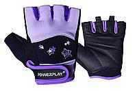 Рукавички для фітнесу PowerPlay 3492 жіночі Чорно-Фіолетові M, фото 1