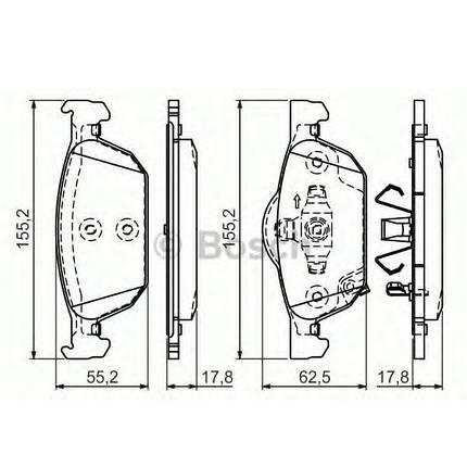 Тормозные колодки Bosch дисковые передние HONDA Accord 2,0-2,2 08 0986494383, фото 2
