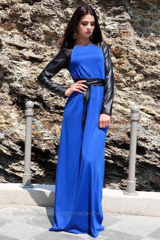 Красивое батальное платье с кожаными рукавами, размеры: 52, 54, 56, цвет - черный, зеленый, электрик, бордовый