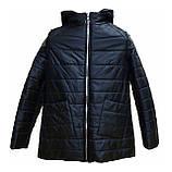 Демисезонная женская куртка с накладным карманом, модель Юлия, черная, размеры 48 - 54, фото 2