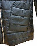 Демисезонная женская куртка с накладным карманом, модель Юлия, черная, размеры 48 - 54, фото 6