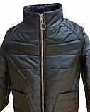 Демисезонная женская куртка с накладным карманом, модель Юлия, черная, размеры 48 - 54, фото 7