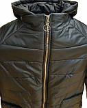 Демисезонная женская куртка с накладным карманом, модель Юлия, черная, размеры 48 - 54, фото 8