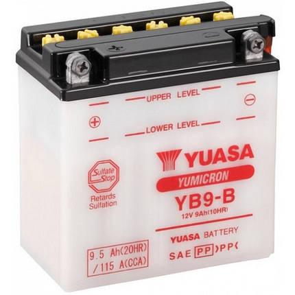 Мото аккумулятор Yuasa 9.5 Ah/12V YuMicron Battery (сухозаряжений) (YB9-B), фото 2