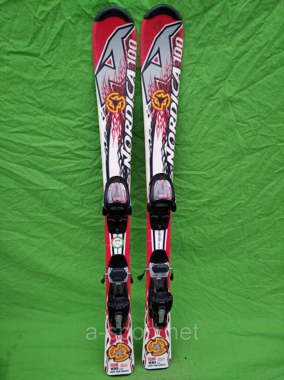 Гірські лижі бу Nordica Team 100 см для карвінгу