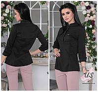 Женская однотонная блузка с длинным рукавом.